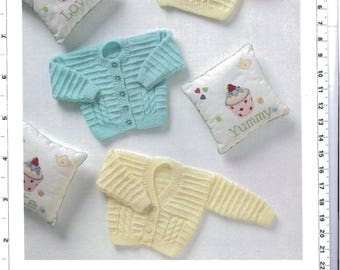 Baby Cardigans sweaters premie collection vintage knitting pattern -Immediate download