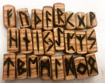 Reclaimed, Oak Woodburned Rune Set