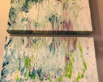 """Pastel paint pour in subtle shades of green, blue & purple, on  2 stretched cavases, both 11"""" 14"""""""