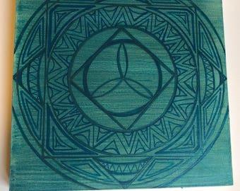 "4pc- square mandala set - each hand painted 10""x10"" square (set includes all 4 pcs shown: green, blue, indigo & violet) Original art"