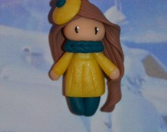 Poupette glamorous yellow dress, brown hair - winter Collection - jewelry polymer clay handmade