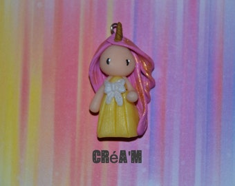 Poppet with polymer clay Unicorn dress yellow, pink hair - Collection of tales and legends - jewelry handmade