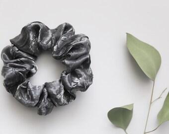 Silver satin scrunchie