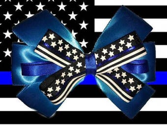 Light Blue Thin Blue Line Police Support Hair Bow