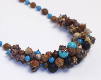"""Gemstone necklace """"Spring is coming""""   Jasper and turquoise bouquet necklace   Bib necklace, bunch neklace gemstone necklace jasper necklace"""