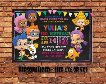 Bubble Guppies Invitation,Bubble Guppies Birthday Invitation,Bubble Gupies Party Invitation,Bubble Guppies Printables,Digital Download