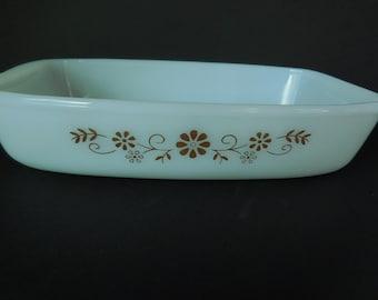 Vintage Dynaware Pyr-o-Rey Glass Casserole Dish/Brown Daisy Pattern/Flower Pattern