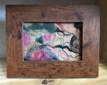 Felt and machine embroidery framed art
