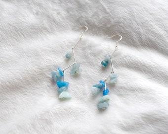 Summer earrings Beads earrings Blue earrings Beads dangle earrings Stone earrings Vacation earrings Beach earrings Cute earrings