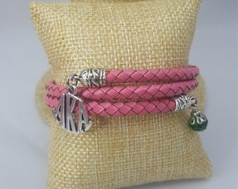 AKA-Pink Twisted Leather wrap bracelet