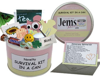 Anniversary Survival Kit In A Can. Fun Gift & Card For Wife, Partner, Girlfriend, Fiancee, Friend, Her, Wedding. OTHER COLOURS AVAILABLE.