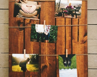 Wood Photo Collage/ Photo Board/ Pallet Photo Board/ Clothespin Photo Collage/ Wall Decor/ Rustic/ Housewarming/ Wedding/ Mother's Day/ Gift