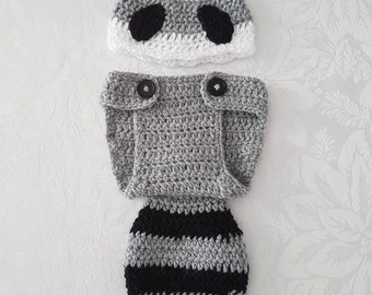 Raccoon Baby Beanie and Nappy Cover
