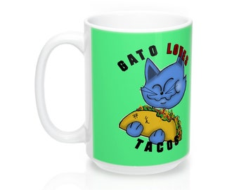Funny Cute Gift For Her Cinco De Mayo Gato Kitten Cat Taco Tuesday Taco Life Lover Coffee Cocoa Tea Mug