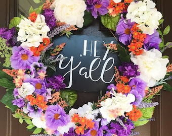 Custom College Wreath|Front Door Decor|Floral Wreath