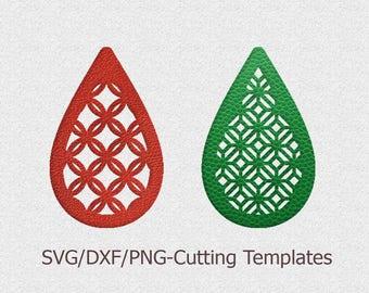Faux leather earrings Set, Teardrop Pendant svg, laser cut template, Cutting File, SVG, DXF Cricut maker, Silhouette Cameo bijouterie design