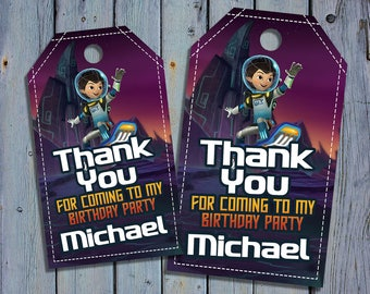 Miles From Tomorrowland Birthday Thank You Tags, Miles Favor Tag, Tomorrowland Printable Digital Labels, Goody Bag Tags, Hang Label Tags