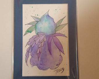 Metallic watercolor cannabis art