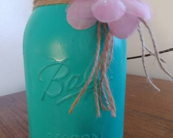 Turquoise Decorated Ball Jar