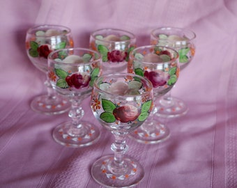 Hand Painted Wine Glasses Set of 6