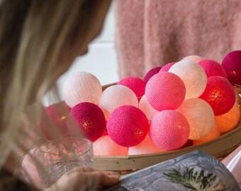 10 Lights CottonBallLights Pink Handmade