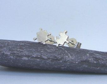 Sterling silver jigsaw earrings