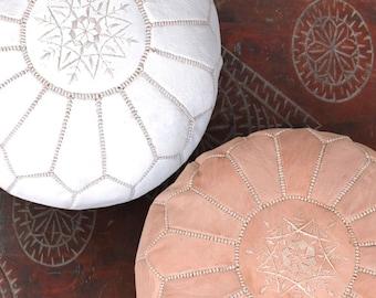 Set of 2 White & Natural Handmade Moroccan Leather Pouf Ottoman Pouffe Poufs Pouffes Ottomans
