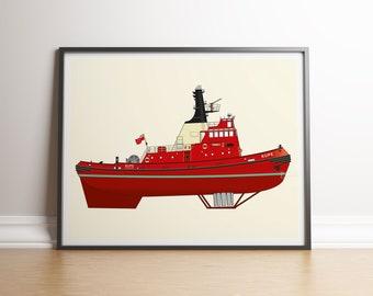 Kupe Wellington Tugboat Illustration Print