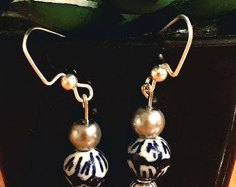 Blue, White and Silver Classy Earrings