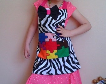 Personalized Kids Apron with Puzzle