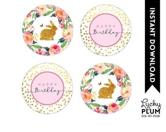 Bunny Cupcake Toppers / Rabbit Cupcake Toppers / Bunny Rabbit Round Labels / Woodland Pink Gold Flower Floral / Digital Printable RB01