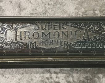 Vintage Hohner Super Chromonica Chromatic No 290 Key of C Harmonica in Original Case Germany