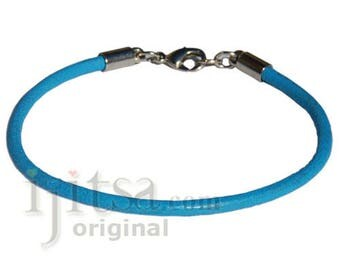 3mm round sky blue leather bracelet or anklet, metall lobster clasp
