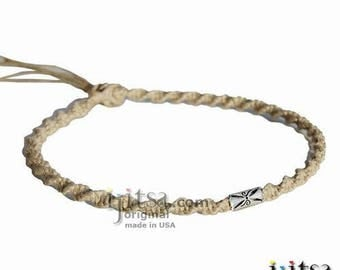 Natural Soft Hemp, Silver Filigree Tube Tribes Bead Surfer Style Twisted Choker Necklace