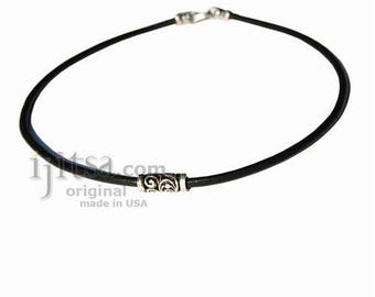 3mm Black Leather Necklace  silver tribe fancy bead, silver plate lobster clasp
