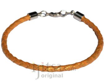 4mm gold braided leather bracelet or anklet metal clasp