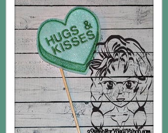 HuGS & KiSSES HeART Themed Holiday PHoTO PRoP 4 Parties and Games ~ In the Hoop ~ Downloadable DiGiTaL Machine Embroidery Design by Carrie