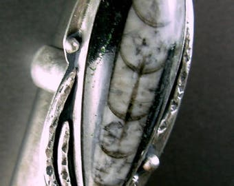 Orthoceras fossil large sterling silver wide half moon band ring 925 textured patina 7.25+ silversmith artist Chelle' Rawlsky OOAK gift box