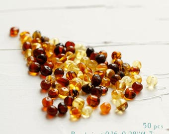 50 Pcs. Baltic Amber Loose Beads 6 mm, Multicolor beads, Multicolor gemstone beads, Gemstone beads