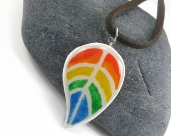 Rainbow Leaf Pendant Gay Pride Necklace