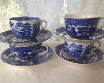 Vintage Blue Willow China Coffee Teacup Saucer Set FOUR Deep Cobalt Blue 1940s Country Kitchen Decor Japan