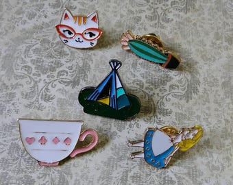Alice Cat Glasses Cactus  - Assorted Enamel Clutch Pin Brooch Pinback Button - Teepee Tent Teacup Wonderland
