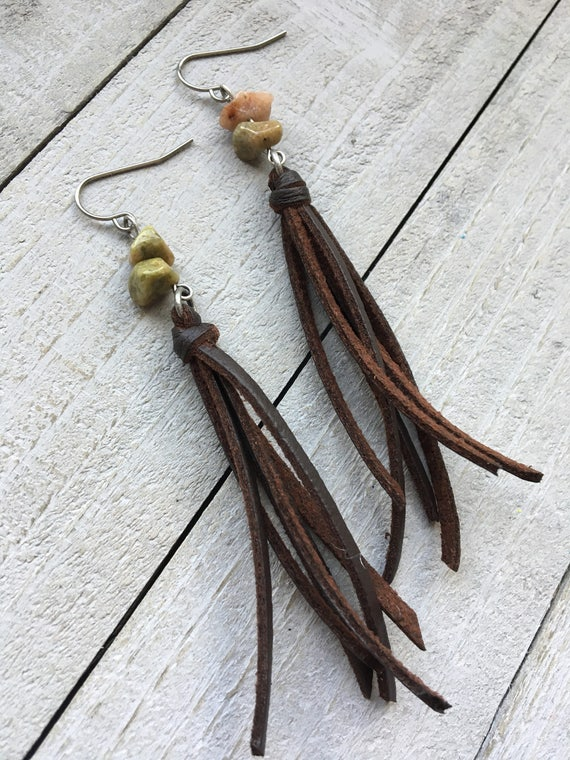 Fringe Tassel Earrings - Brown Faux Leather Tassel + Autumn Jasper