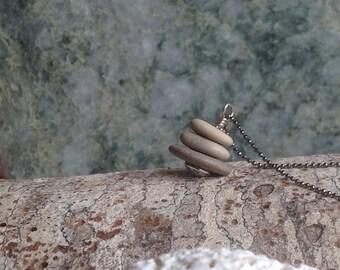 Tiny Beach Rock Cairn Necklace