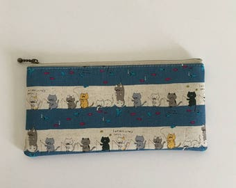 Flat  zipper pouch  -fishing smoky blue
