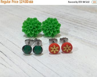 Christmas in July SALE. Stud Earring Set, Christmas Earrings, Christmas Gift Set, Green Mum Studs, Red Gold Snowflake Studs, Green Crystal S