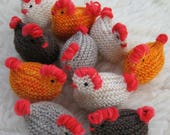 Set of four Hen and egg sets  knit hen wood egg chickens farm ready to ship