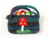 Peg doll gnomes in a felted wool pouch mushroom design waldorf inspired ready to ship