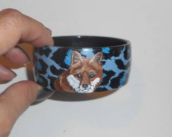 Red Fox Hand Painted Bangle Bracelet Jewelry Blue