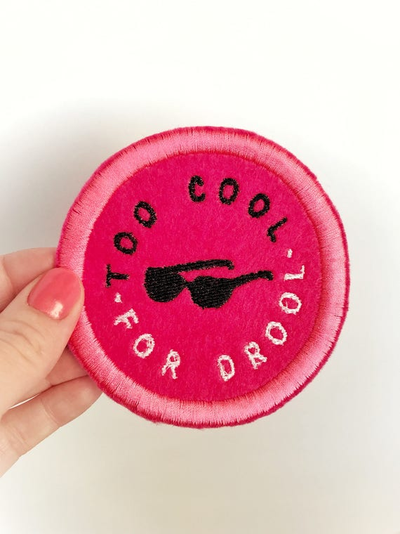 Too Cool For Drool Patch. Mom Iron-on patch. Diaper bag accessories. New mom gift ideas. Proud mom patch. New mom gift basket ideas.